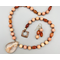 "Necklace set   Lodolite ""Shaman's Dream"" pendant, orange calcite rounds, carnelian faceted ovals, etched copper artisan clasp"