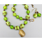 Necklace set | Bronze angelwing shell pendant, 1950s chartreuse/aventurina 3-sided glass beads, lime green swirled vintage rounds