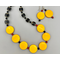 Necklace set | Yellow/orange vintage glass disks, black turbines, coral and blackstone spacer beads