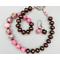Necklace set | Pink swirl rounds and pink/aventurina vintage glass beads, dark copper glass pearls, finely detailed sterling clasp