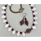 Necklace set | Pale lavender glass leaves, amethyst and glass bronze rounds, finned violet/amethyst focal beads