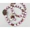 Necklace set   Kunzite rounds, faceted strawberry quartz, artisan lost wax bronze cast pendant and clasp