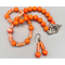 Necklace set | Vivid orange vintage glass rounds, clear/orange/white ovular baroque beads