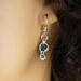 Silver Chainmaille Captured Bead Earrings Blue Zircon