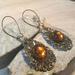 Bohemian Bronze and Topaz Dangle Teardrop filligree Earrings