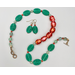Watermelon palette necklace set — aqua-green pressed glass and watermelon pink vintage glass beads