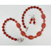 Necklace set: Antique/vintage carnelian Czech pressed glass ovals, carnelian stone rounds, faceted crystal