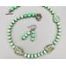 Necklace set   Mint green and aventurine glass leaves, vintage mint rondelles, speckled green vintage glass beads