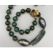 Necklace set | Antique Czech beads, curved lampwork focal, artisan bronze clasp