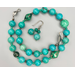 Necklace set | Turquoise-green stones, vintage green glass beads
