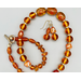 Necklace set   Amber vintage glass beads, honey amber chips, carnelian faceted ovals, artisan gold bronze findings
