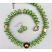 Necklace set   Apple green turquoise rondelles, bronze artisan sliders, bronze toggle clasp, antique glass focal bead