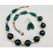 Necklace set   Vintage teal green glass rounds and teardrops, gold freshwater pearls