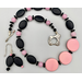 Necklace set   Mid-century pink and black palette, eye-catching pink focal disks, sterling silver clasp