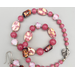 Necklace set   Mid-century rose pink, fuchsia Japanese glass beads, sterling silver leaf clasp