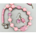 Necklace set | Pink twist focal, antique and vintage glass beads, Venetian white-heart trade beads