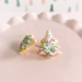fireflyFrippery White Christmas Tree Sugar Cookie Earrings Front & Side