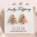 fireflyFrippery Pink Christmas Tree Sugar Cookie Earrings on Card