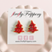 fireflyFrippery Red Christmas Tree Sugar Cookie Earrings on Card