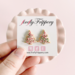 fireflyFrippery Pink Christmas Tree Sugar Cookie Earrings on Card in Hand