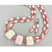 Necklace set   Collar style white tablet focals with pink vintage glass beads