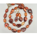 Necklace set | Graduated strand of Mexican Fire Opals with carnelian faceted ovals