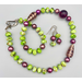 Necklace set   Lime green and violet palette of vintage and contemporary glass beads with freshwater pearls